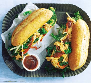 BBQ Chicken Sandwich with Kale and Apple image