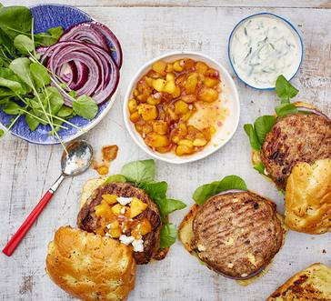 Turkey and Feta Burger with Peach Salsa image