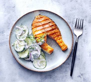 Grilled Salmon Steaks with Cucumber Salad image
