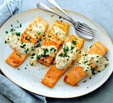 Seared Salmon in Creamy Mustard Sauce image