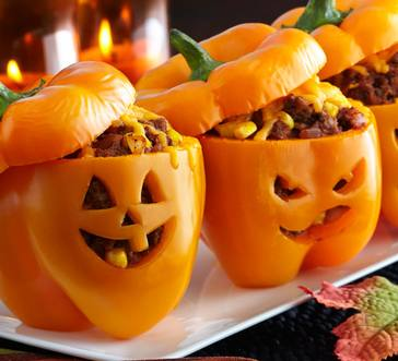 Jack-O-Lantern Stuffed Peppers image