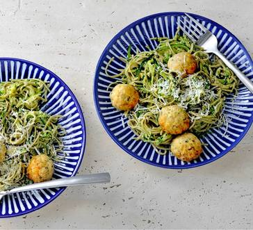 Baked Turkey Meatballs with Pesto image