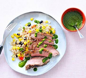 Grilled Steak and Farro with Herb Sauce image