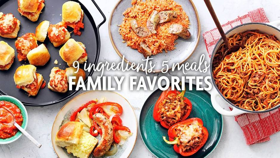 9 Ingredients, 5 Meals: Family Favorites Meal Plan image