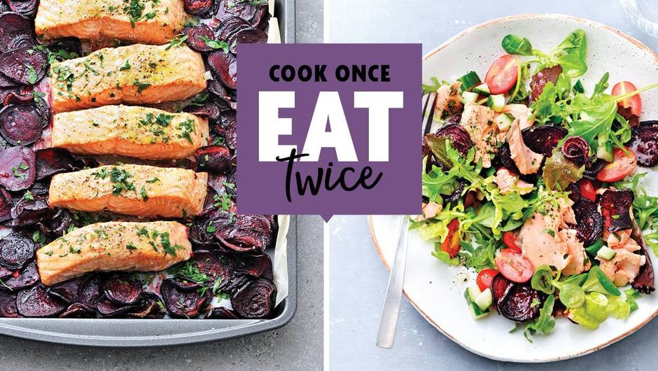 Cook Once, Eat Twice: Slow-roasted salmon over beets image