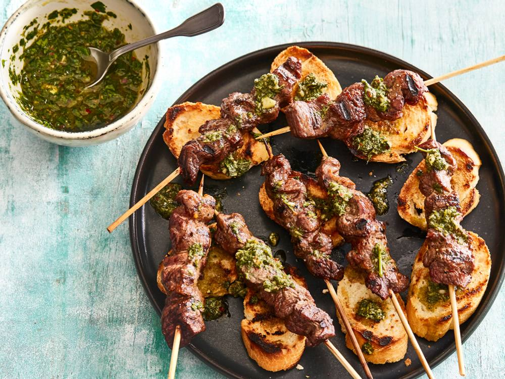 Argentinian Beef Kabobs with Chimichurri