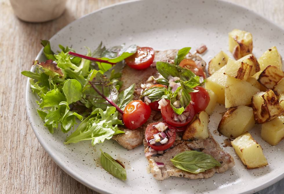 Veal with bruschetta salsa and potatoes