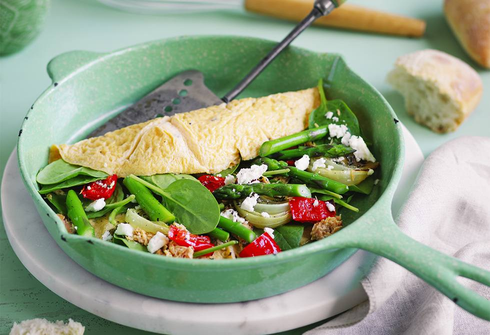 Roasted vegetable, salmon and spinach omelette