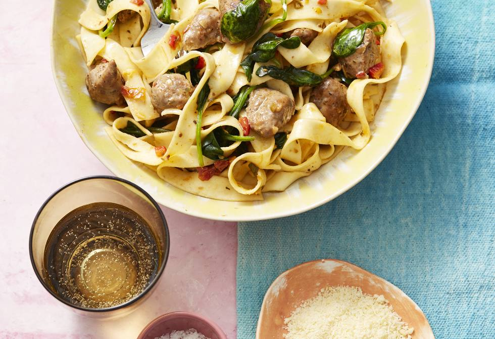 Sausage and spinach fettuccine