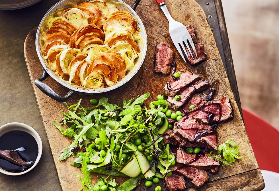 Sweet potato gratin with chargrilled beef