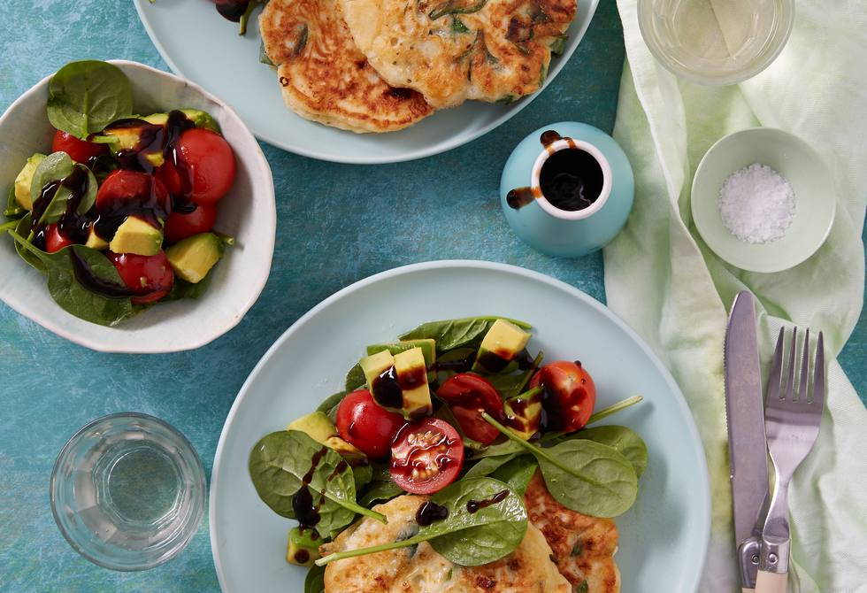 Spinach and cottage cheese fritters