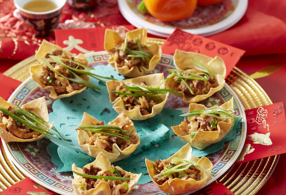 Duck fried rice wonton cups
