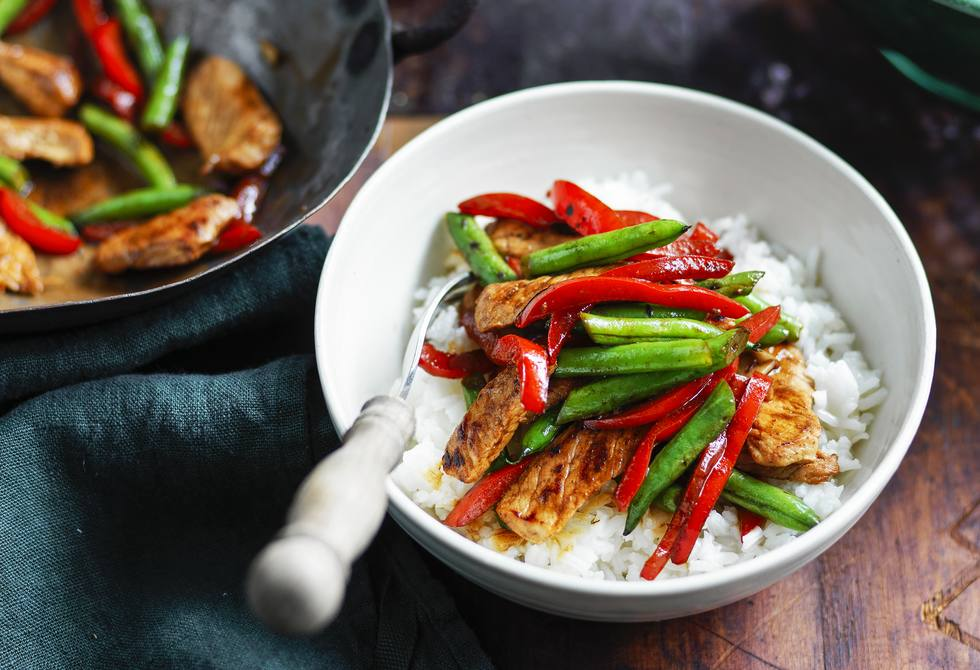 Miso pork, green bean and spinach stir-fry