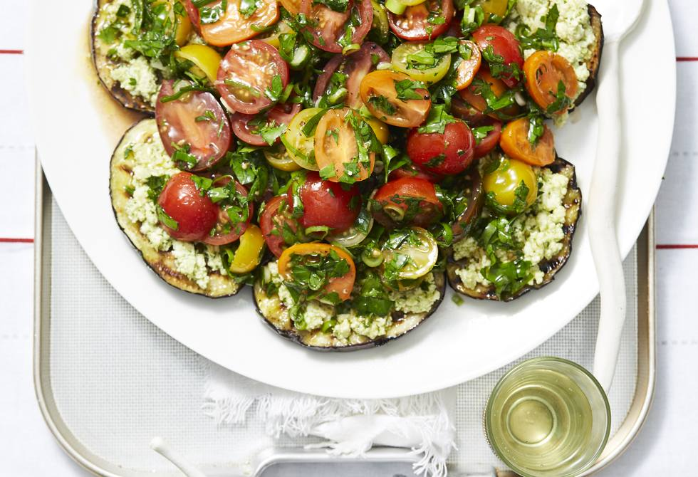 Chargrilled eggplants with pesto ricotta and marinated tomatoes