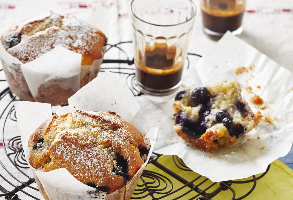 White choc, lemon and blueberry muffins