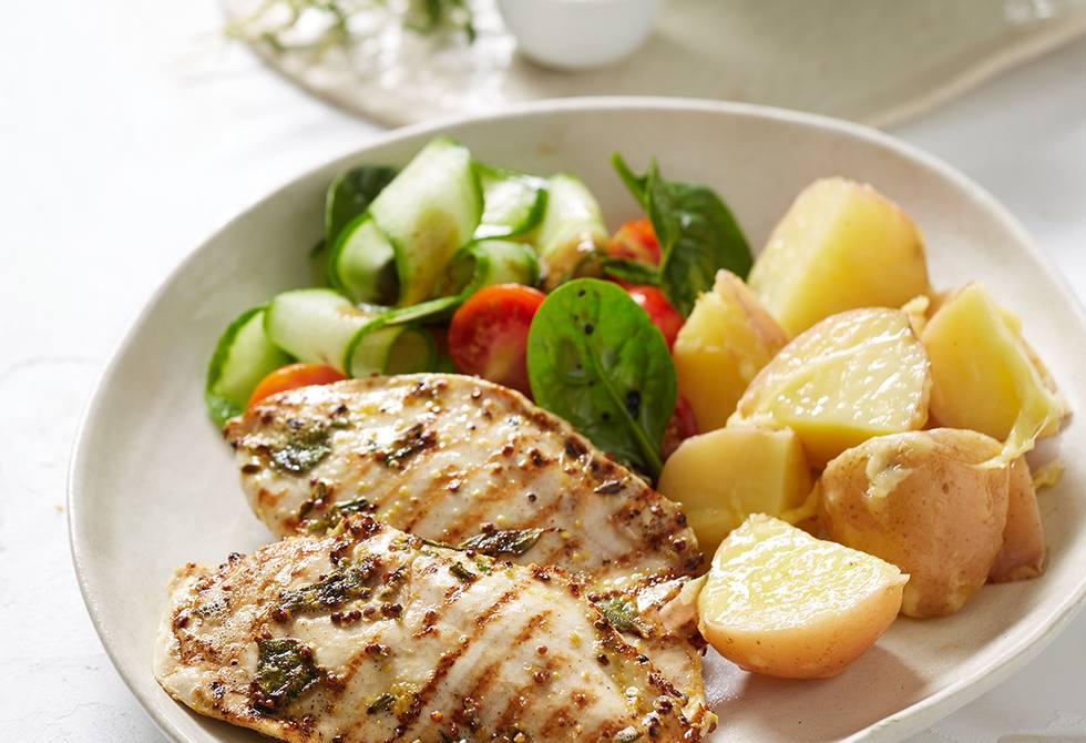 Herbed chicken steaks with parmesan potatoes