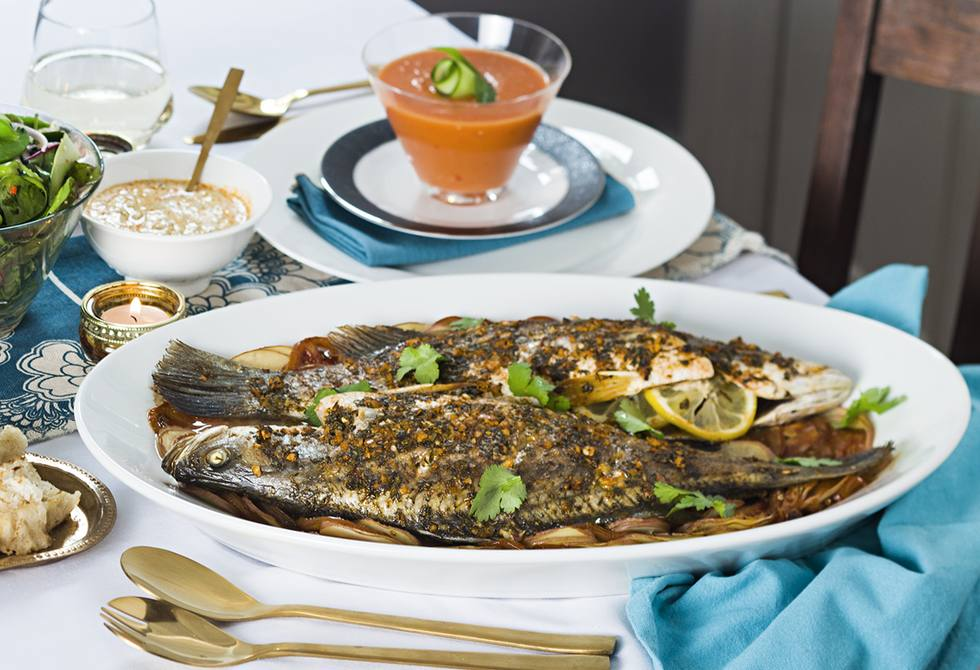 Chermoula barramundi with lemon, capers and olives