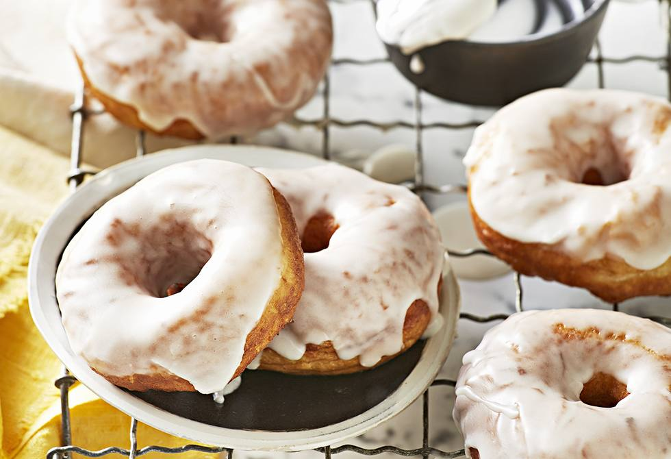 Pineapple doughnuts with rum glaze