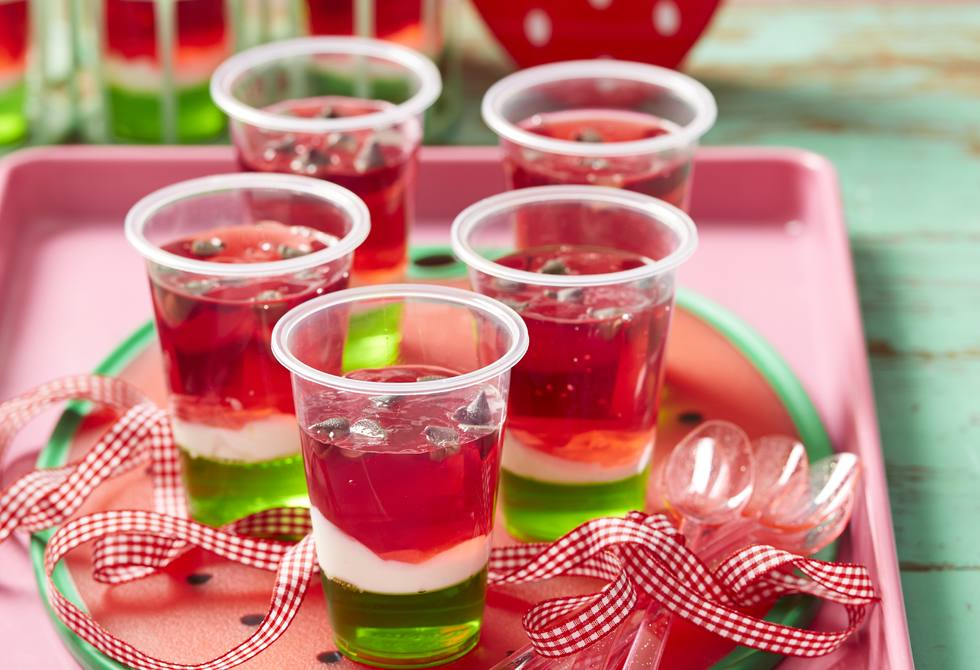 Watermelon jelly cups