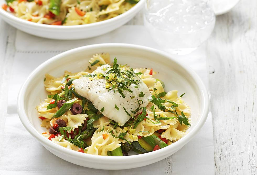Lemon and olive pasta with fish