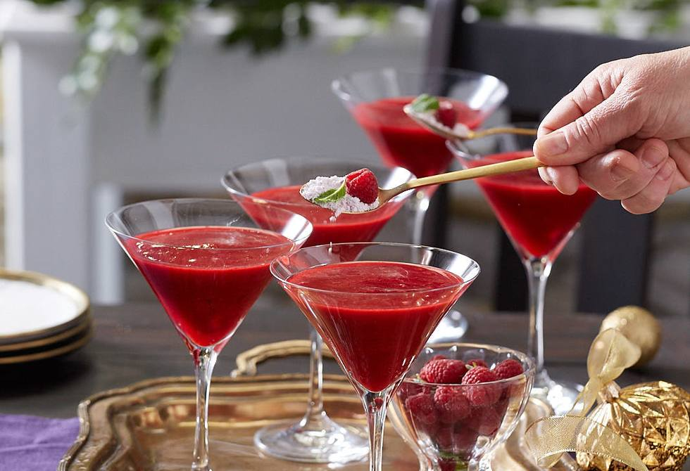 Icy raspberry, pomegranate and lime martinis with sherbet