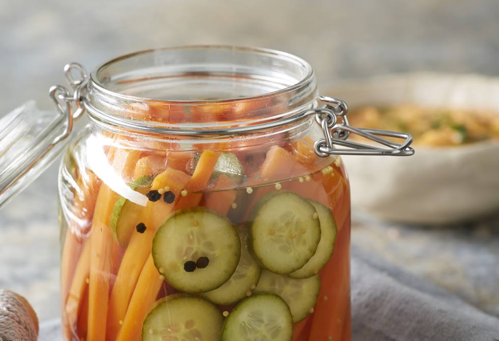 Pickled carrots and cucumber