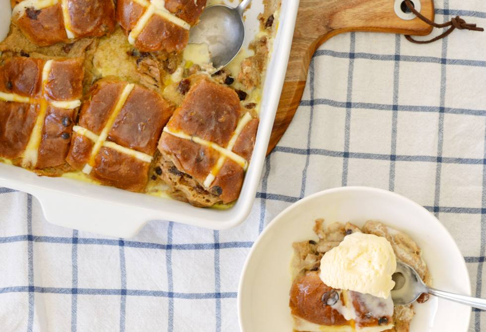 Hot cross bun pudding with apricot glaze