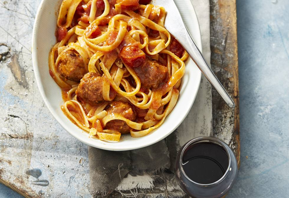 Pork and veal meatballs with cherry tomato sauce