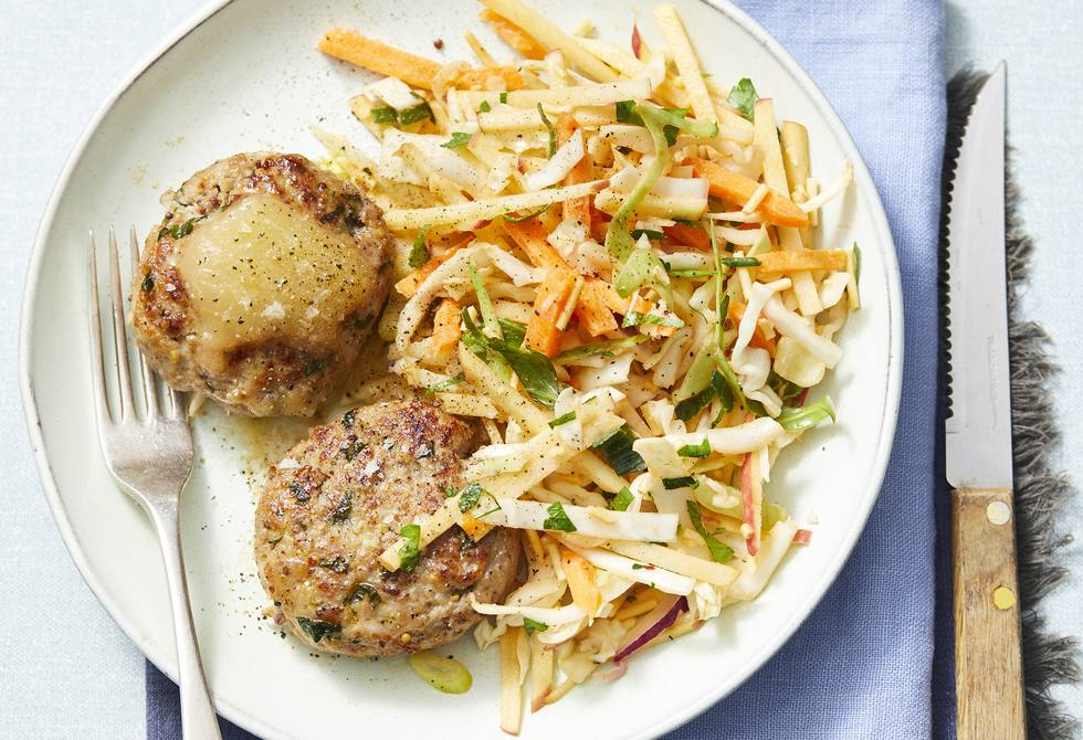 Pork rissoles with crunchy apple salad