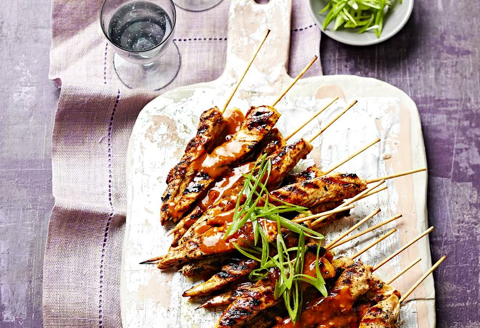 Mini satay chicken skewers