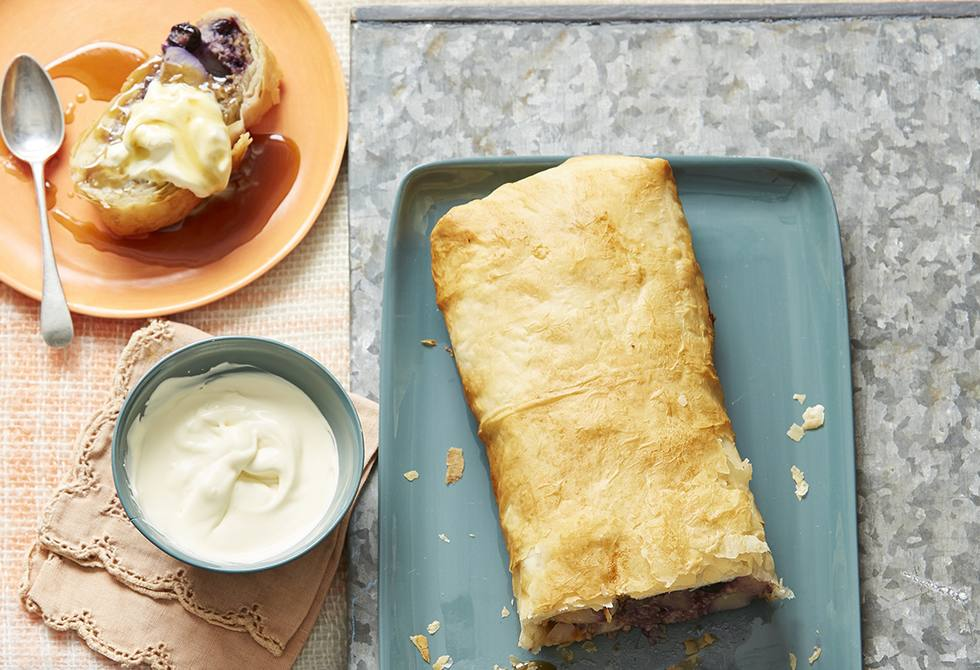 Pear and blueberry strudel