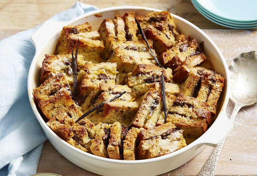 Gluten-free marmalade and chocolate bread and butter pudding