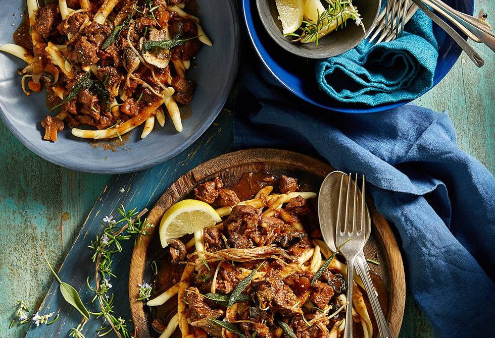 Hearty meat ragu with mushies