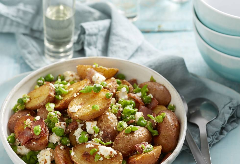 Warm roast potato, bacon and pea salad