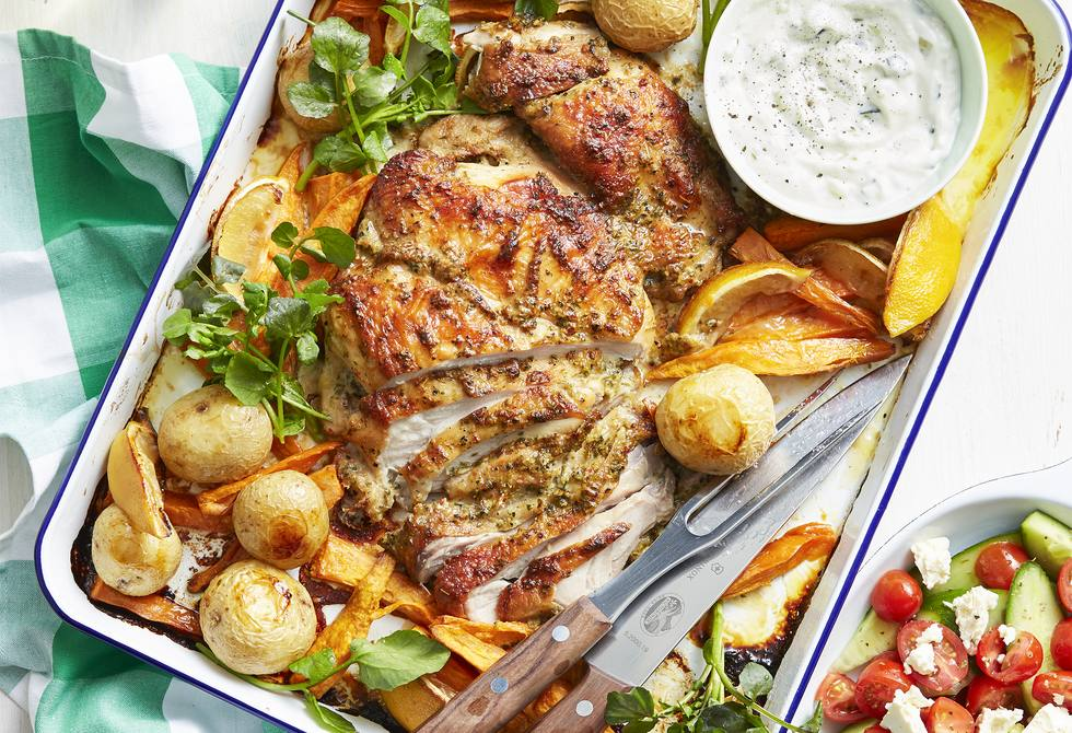 Greek-style chicken tray bake with salad