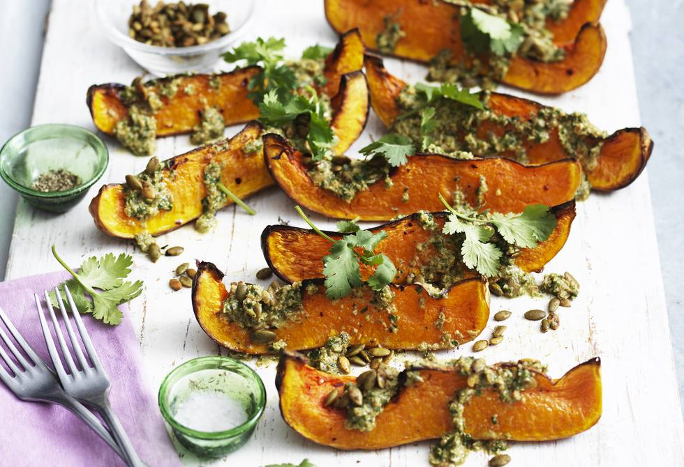 Roasted pumpkin with pepita and coriander dressing