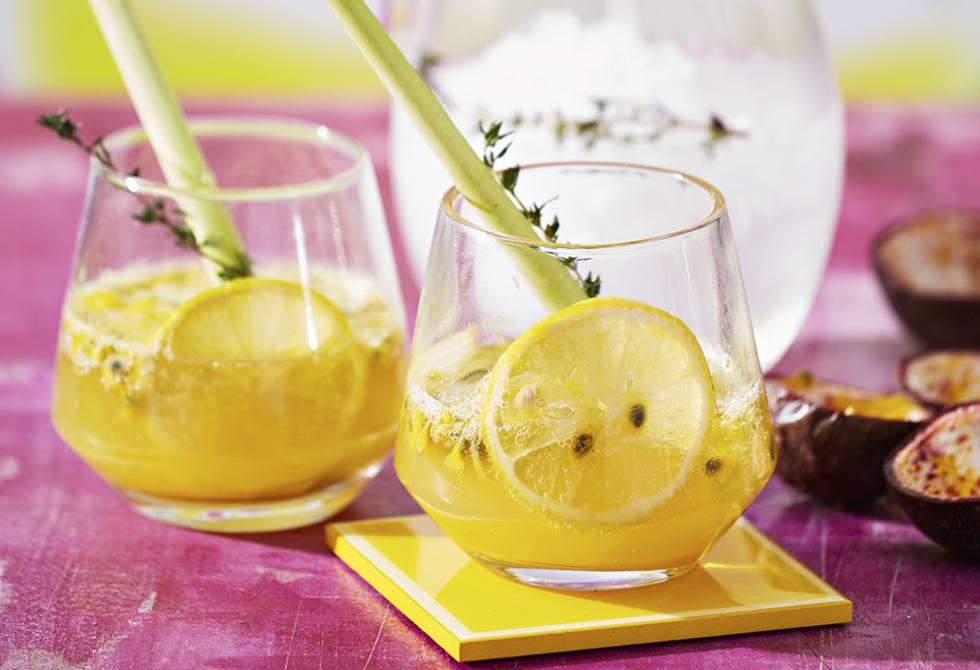 Passionfruit, lemongrass and thyme spritz