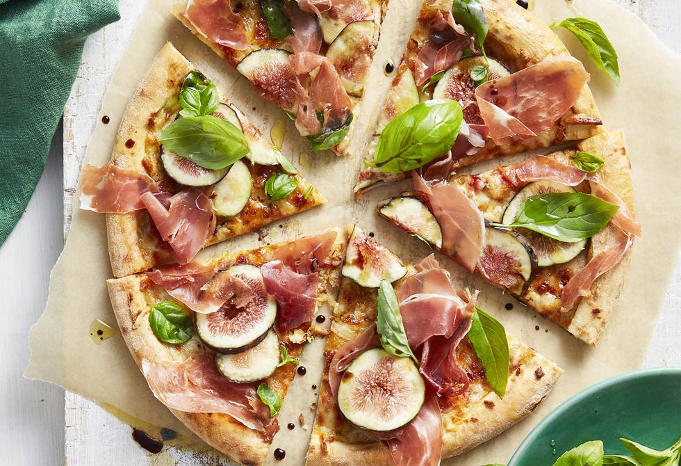 Prosciutto, fig and four cheese sourdough pizza