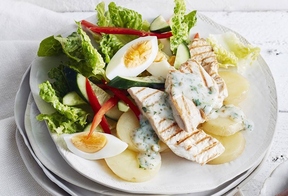 Chargrilled chicken, potato & egg salad