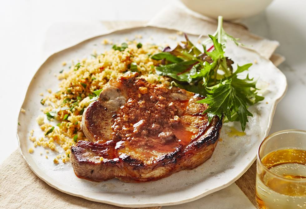 Pork with capsicum dressing and couscous