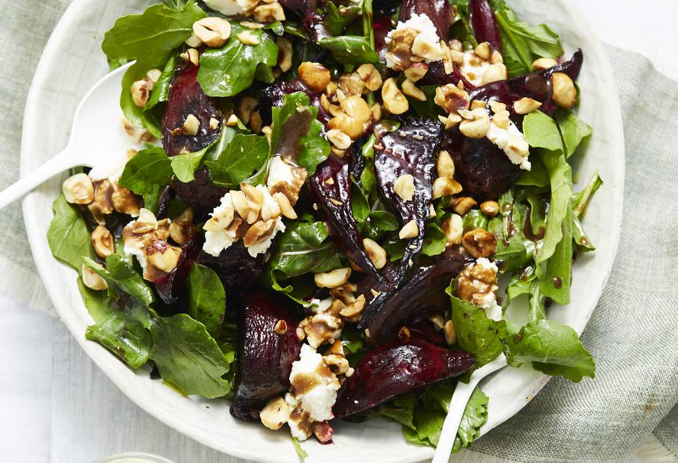 Beetroot, hazelnut and goat's cheese salad