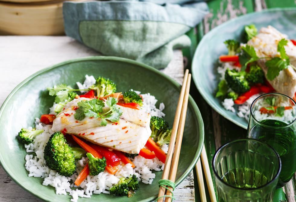 Steamed Thai-style fish with rice