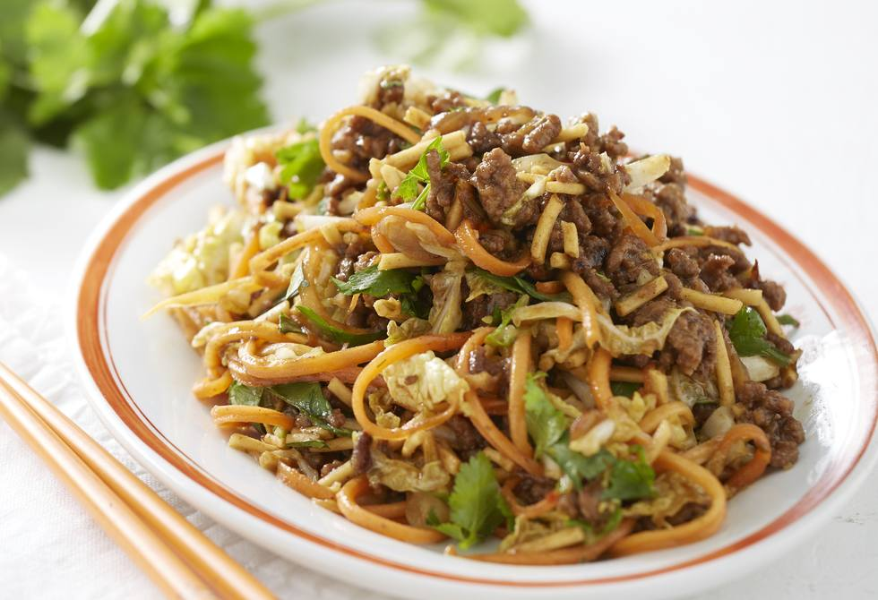 Asian beef with crisp noodles