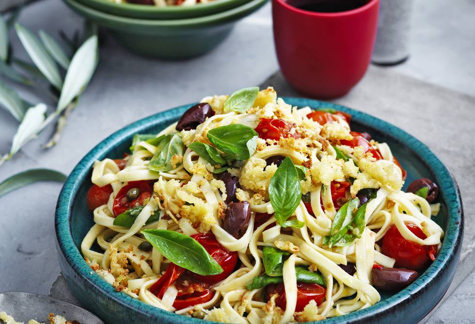 Roasted tomato, chilli and olive linguine with parmesan crumbs