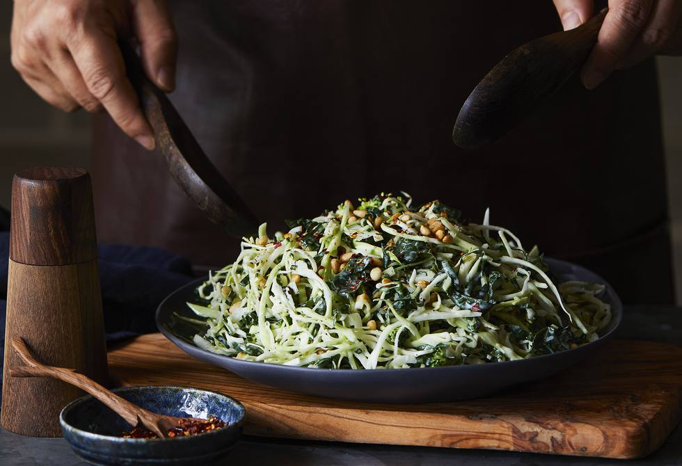 Broccoli, silverbeet and pine nut slaw