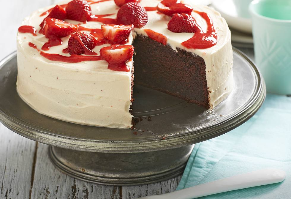 Devil's food cake with strawberry cream cheese