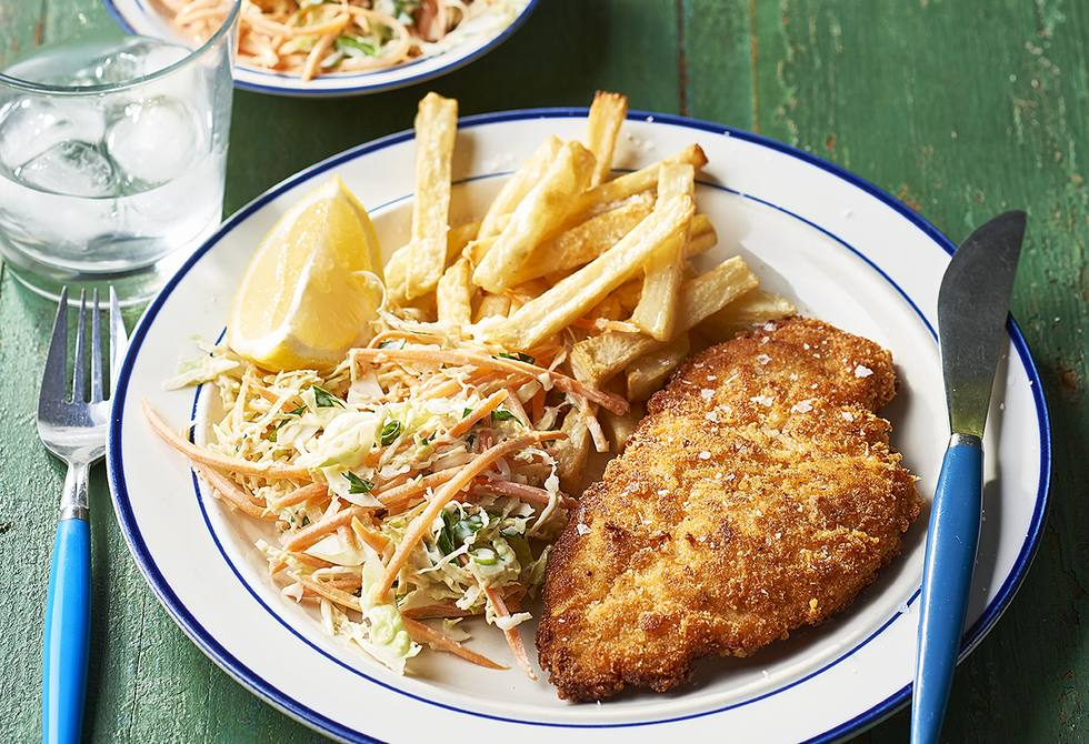 Crispy parmesan chicken with chips and slaw
