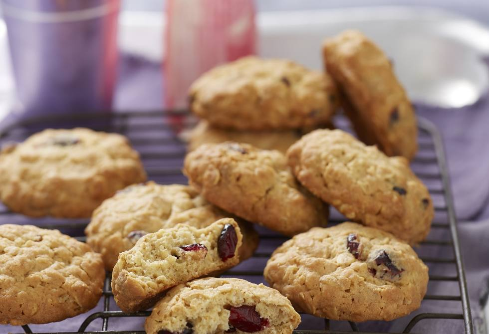 Cranberry and white choc oat cookies