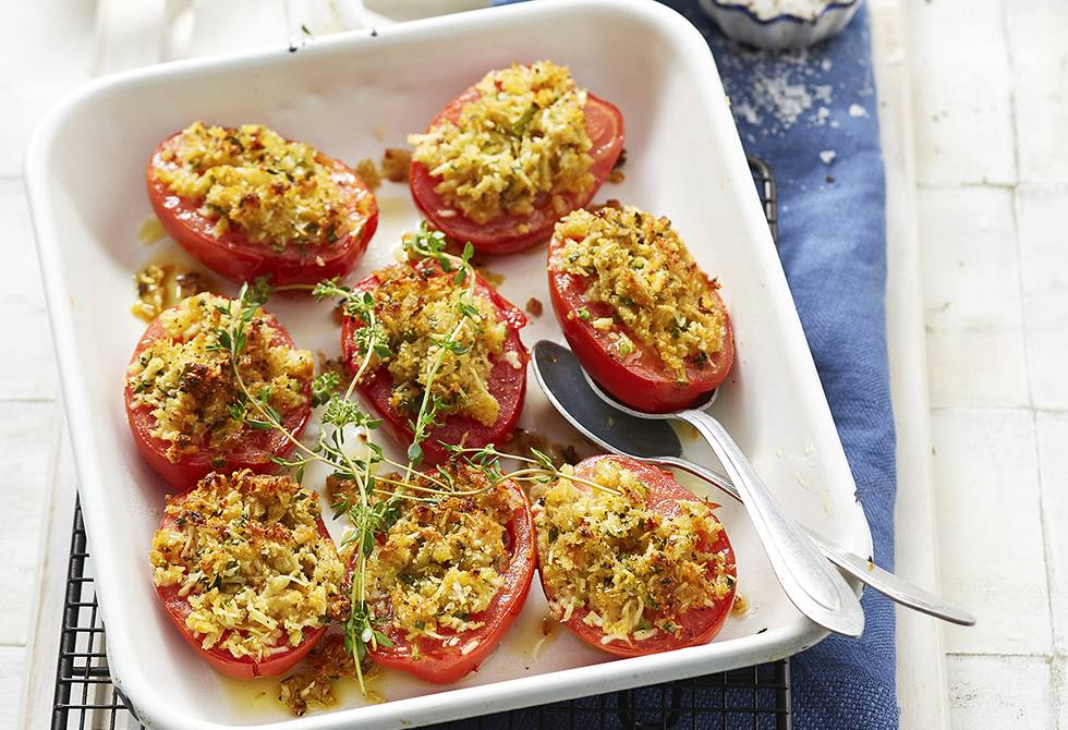 Crumbed mustard and parmesan tomatoes