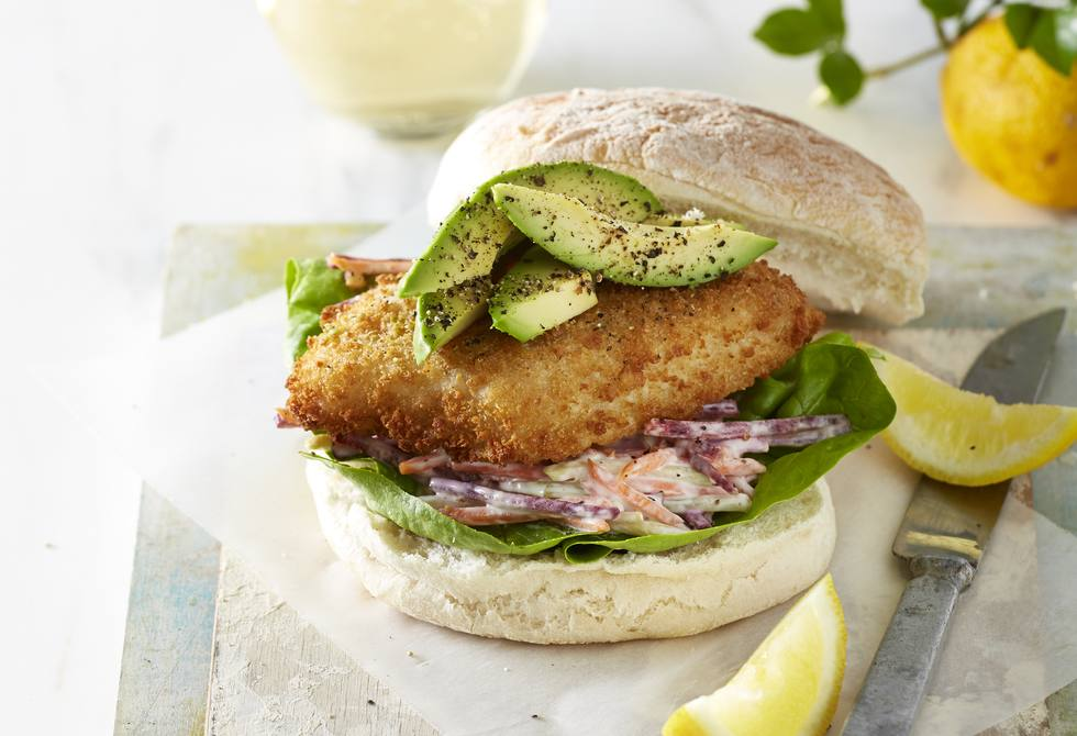 Crumbed fish burger with slaw